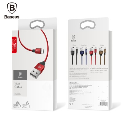 Кабель USB для Apple 8 pin Baseus Yiven CALYW-12, 1.2м, круглый, 2.1A, силикон, в переплёте